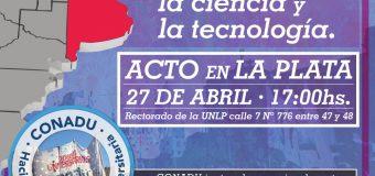 Plan Nacional de Lucha: Jueves 27 de abril acto en La Plata 17 hs.