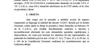 Amparo de CONADU contra los cambios por decreto al sistema de ART