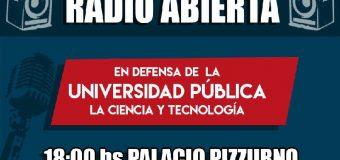 HOY, radio abierta y vigilia en defensa de la Universidad Pública y la Ciencia y la Tecnología
