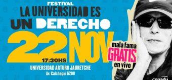 22 de noviembre – 70 años de la Gratuidad Universitaria CONGRESO EXTRAORDINARIO DE CONADU y FESTIVAL