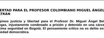 Libertad para el profesor colombiano Miguel Ángel Beltrán