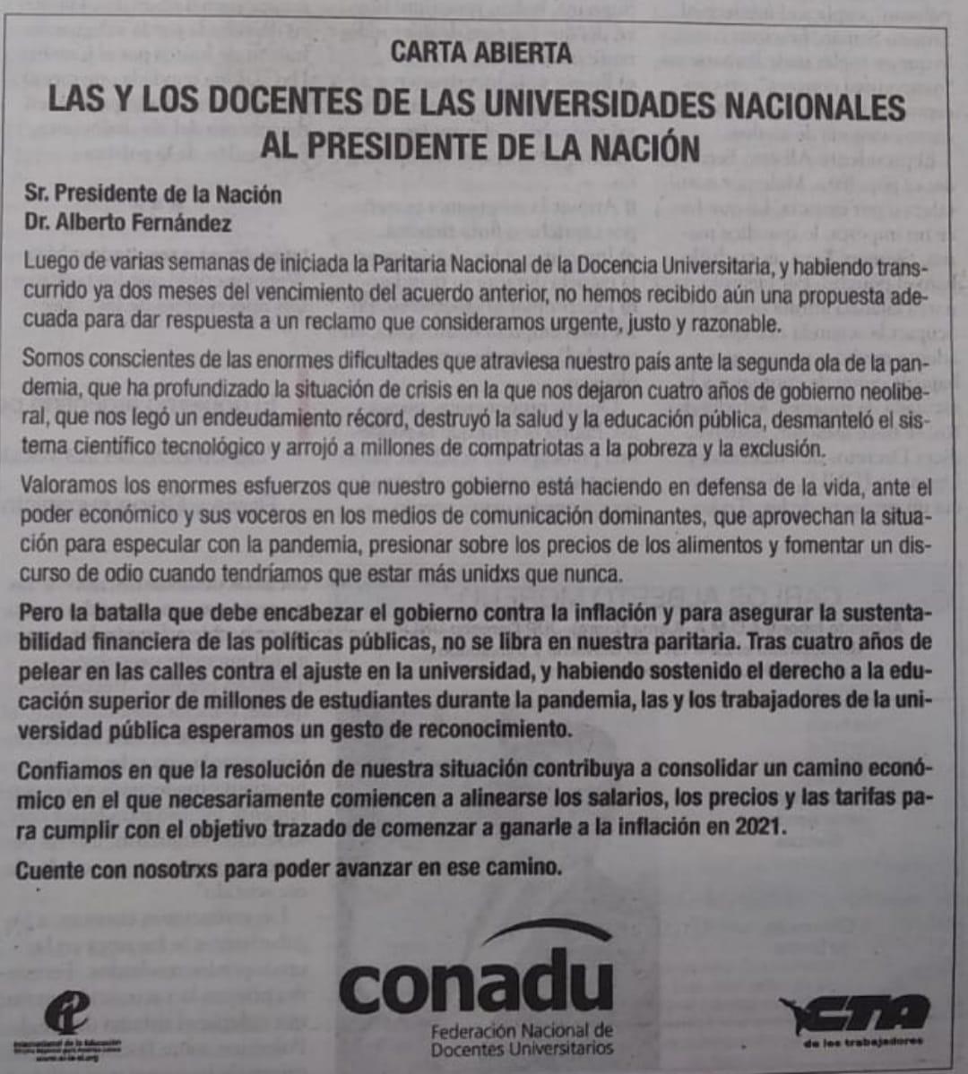 Carta Publicada el 2 de Mayo en el diario Página12