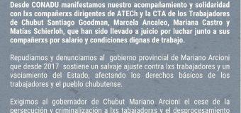 Basta de Persecución a lxs trabajadores en la provincia de Chubut
