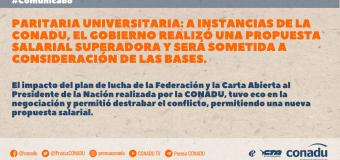 Paritaria universitaria: a instancias de la CONADU, el gobierno realizó una propuesta salarial superadora y será sometida a consideración de las bases.