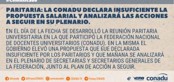 Paritaria: la CONADU declara insuficiente la propuesta salarial y analizará las acciones a seguir en su plenario.