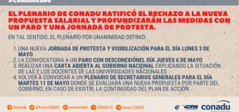 El plenario de CONADU ratificó el rechazo a la nueva propuesta salarial y profundizará las medidas con un Paro y una jornada de protesta.