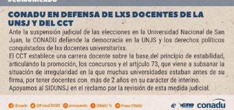 CONADU en defensa de los derechos políticos de las y los docentes de la Universidad Nacional de San Juan y del CCT.