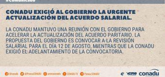 CONADU exigió al Gobierno la urgente actualización del acuerdo salarial