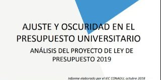 AJUSTE Y OSCURIDAD EN EL PRESUPUESTO UNIVERSITARIO. Informe IEC-CONADU sobre el Presupuesto 2019