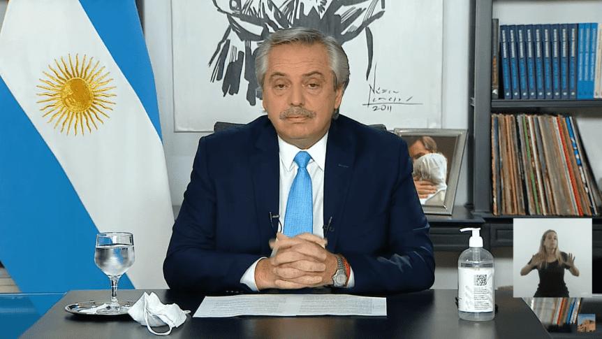 Anuncio de restricciones del Presidente Alberto Fernández