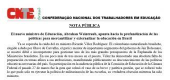 El nuevo ministro de Educación, Abrahan Weintraub, apunta hacia la profundización de las políticas para mercantilizar y externalizar la educación en Brasil