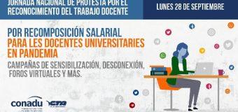 Ante la falta de oferta salarial en la paritaria, la  CONADU impulsa una jornada nacional de protesta para el lunes 28 de septiembre.