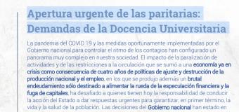 Apertura urgente de las paritarias. Demandas de la docencia universitaria.