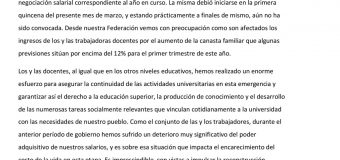 La CONADU reiteró el llamado urgente a paritaria  por aumento salarial del 35% con revisión