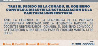 Tras el pedido de la CONADU, el Gobierno convocó a discutir la actualización de la paritaria universitaria.
