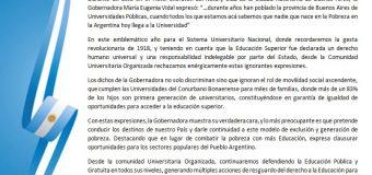 A 100 años de la Reforma Universitaria, rechazamos enérgicamente las expresiones de la gobernadora Ma. Eugenia Vidal