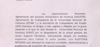 La CONADU apoya el reclamo de ADUFOR para que la SPU establezca una auditoría integral a la Universidad Nacional de Formosa.