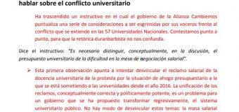 El ajuste es real: réplica a las instrucciones del gobierno para hablar sobre el conflicto universitario
