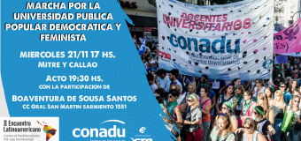 La CONADU continúa el plan de lucha con debates, Movilización y Acto durante el Foro Mundial del Pensamiento Crítico