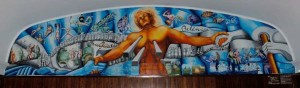 """Mural del Salón de Actos de Campus Resistencia.  """"Argentina, dolor y esperanza"""",  realizado por Amanda Mayor de Piérola, madre de una de las  victimas de la Masacre de Margarita Belen."""