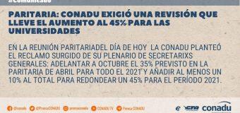 Paritaria: CONADU exigió una revisión que lleve el aumento al 45% para las universidades