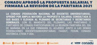 CONADU aprobó la propuesta salarial y firmará la revisión de la paritaria 2021.