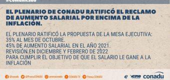 El Plenario de Secretarixs Generales de CONADU ratificó el reclamo de aumento salarial por encima de la inflación.