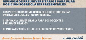 Reunión de Preuniversitarios para fijar posición sobre clases presenciales.