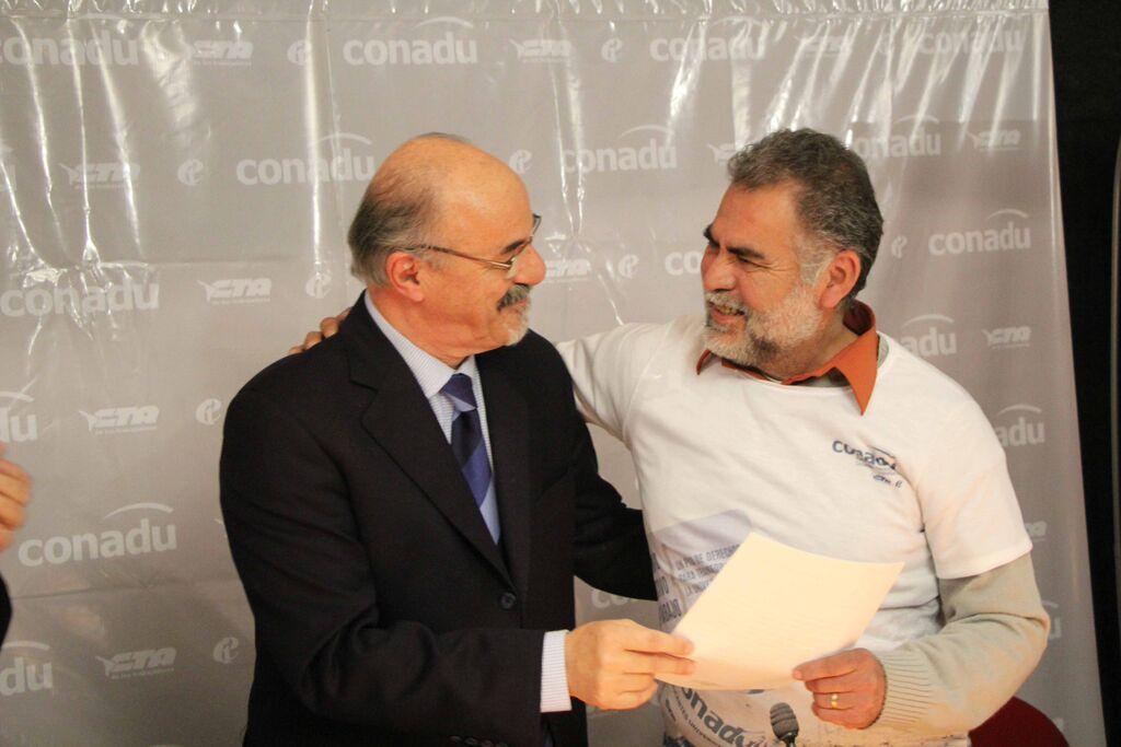 Carlos Tomada y Horacio Córdoba, Secretario de Prensa y Organización de SIDUNSJ